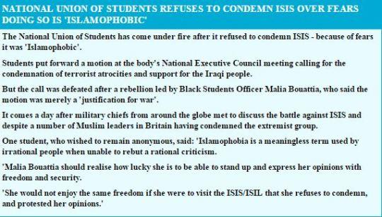 nus fails to condemn isis Capture