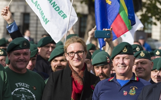 Mandatory Credit: Photo by Alex MacNaughton Photography/REX Shutterstock (5320460b)  Claire Blackman at rally in support of her husband Royal Marine Sgt Alexander Blackman in Parliament Square.  Rally In Support of Sgt Alexander Blackman, London, Britain - 28 Oct 2015  Blackman is serving a life sentence for murdering a wounded Taliban fighter in Helmand province, Afghanistan on 15th Sept. 2011. Blackman's supporters, led by his wife Claire, are campaigning to have his 2013 murder conviction overturned. They believe he should only have faced a lesser manslaughter charge for shooting the badly wounded Taliban fighter rather than murder.